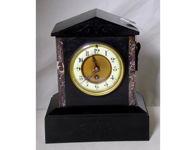 Antique Gustav Becker Slate and Marble 8 Day  Mantle Clock.Circa 1900.