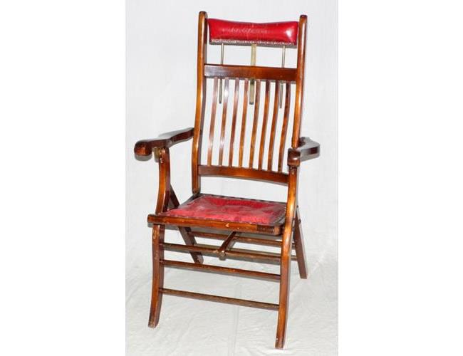 Antique Folding Mahogany Ships Doctor/Dentist  or Barber's Chair.