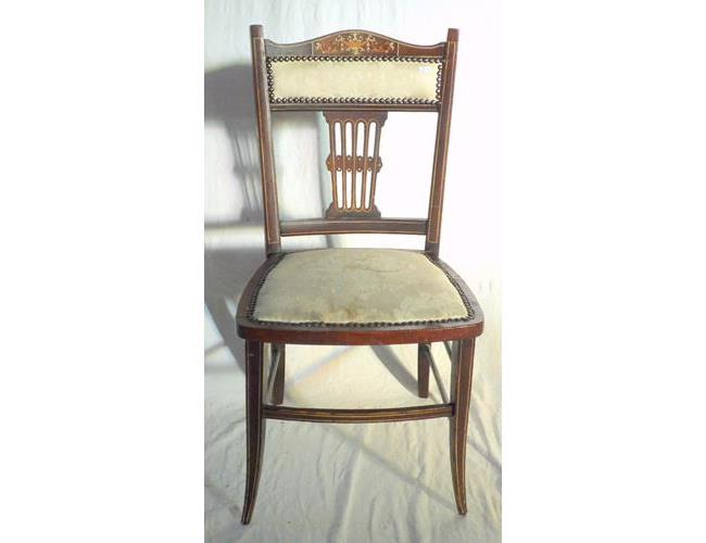 Antique Mahogany  Inlaid Salon Chair. 19thc.  Height  30 Inches.