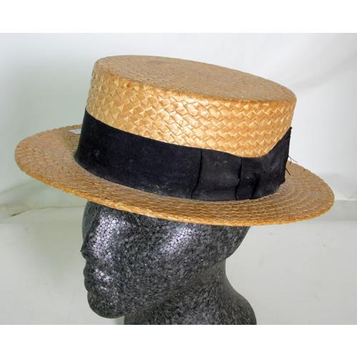 Vintage 1930s English Straw Boater Hat.  Superior Manufacture