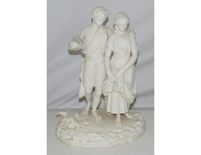 Antique Royal Worcester Parian Classical  Figurine 'Flower Gatherers'.
