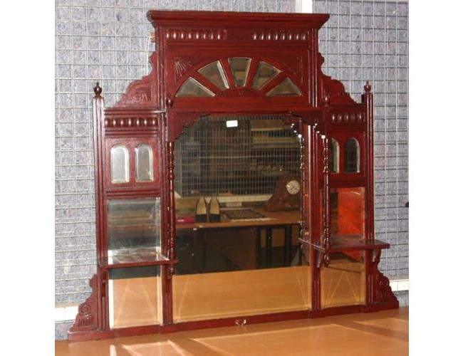 19th Victorian Mahogany Overmantle Mirror.