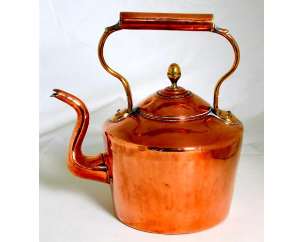 Antique William Soutter Sons Birmingham  Copper Kettle with Acorn Finial.