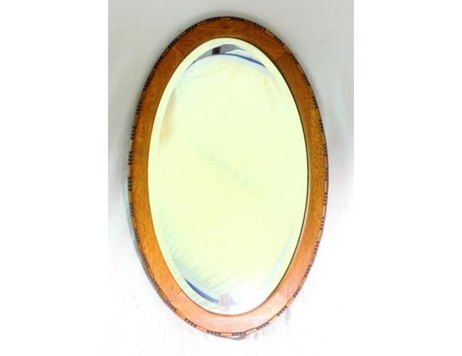 Antique Oval Oak Framed Wall Mirror with  Bevelled Lense.