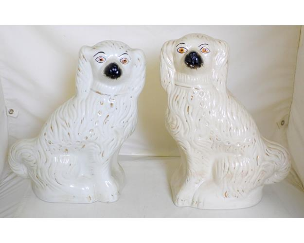 A Pair Of Large Antique Staffordshire Spaniel  Dogs. 19thc.