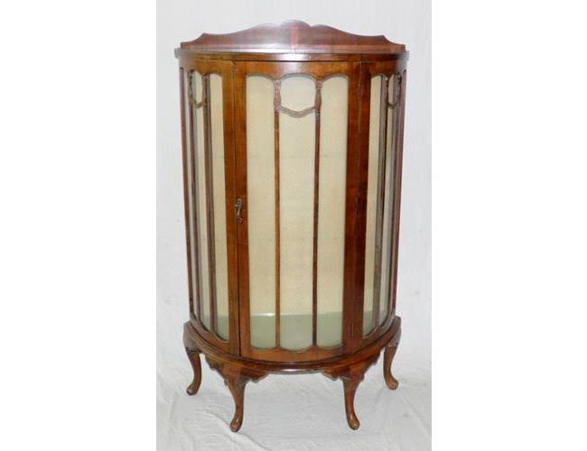 1930s Bowfronted Walnut Glass Display Cabinet on Cabriole Supports.