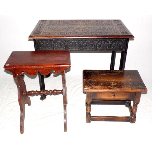 Victorian Carved Oak Centre Table. Circa  1900. Also an Oak Footstool