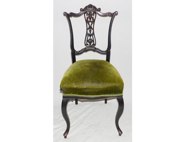 Victorian Carved Walnut Ebonised Bedroom  Chair. 19thc