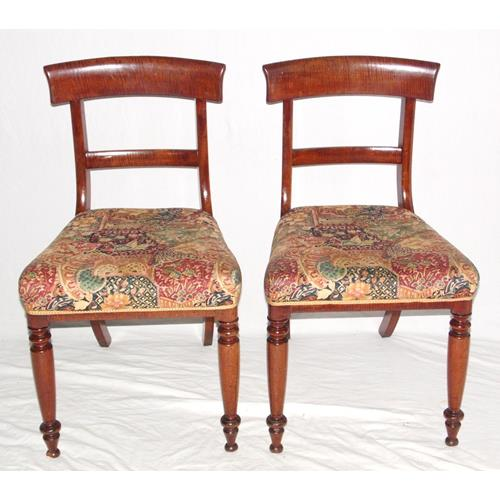 A Pair of  Antique Regency Mahogany Bar Back  Dining Chairs. Early 19thc.