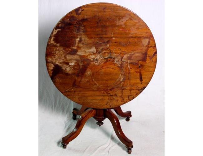 Victorian Solid Mahogany Circular Tripod  Table. 19thc