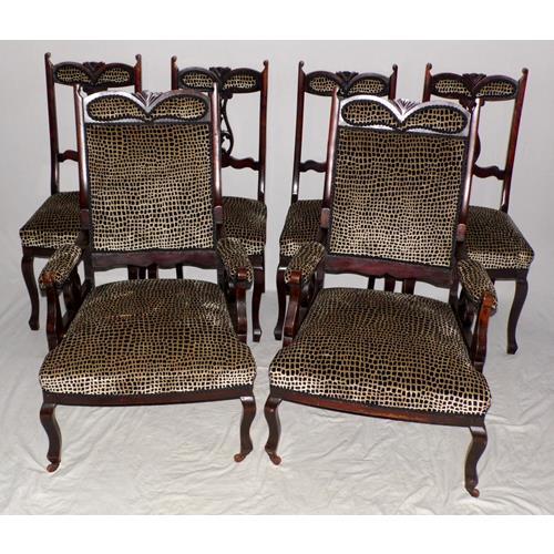 Antique Edwardian Salon Suite Two Armchairs  Four Side Chairs