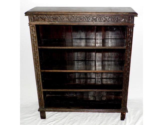 Victorian Carved Oak Open Dwarf Bookcase on  Style Legs.. 19thc