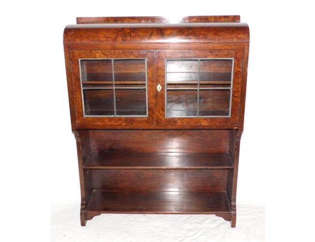 Art Deco Figured Walnut  Bookcase. Circa  1930s.