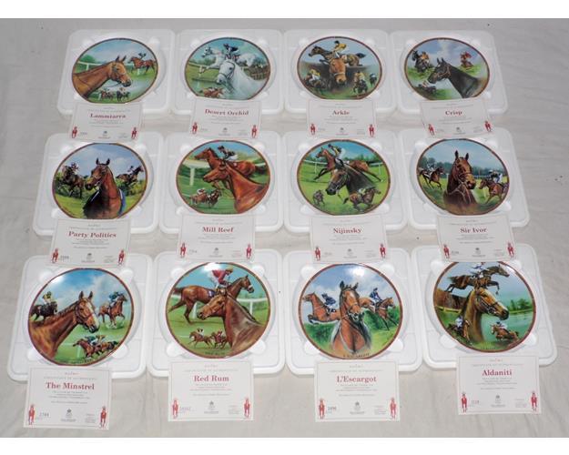 Royal Worcester Set of 12 Famous Race Horses  Plates + Certificates.