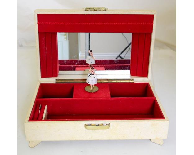Vintage Costume Jewellery Ballerina Swiss  Musical Box