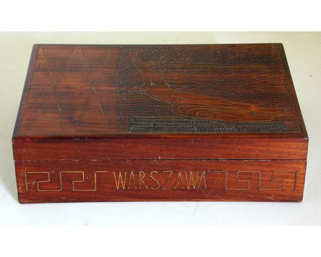Warszawa Poland  ' Mermaid of Warsaw' Brass  Inlaid Mahogany Cigarette Box.