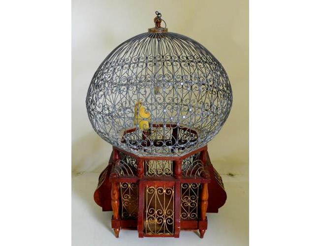 Vintage French Wire / Wood Domed Bird Cage.  20thc . Height 21 Inches