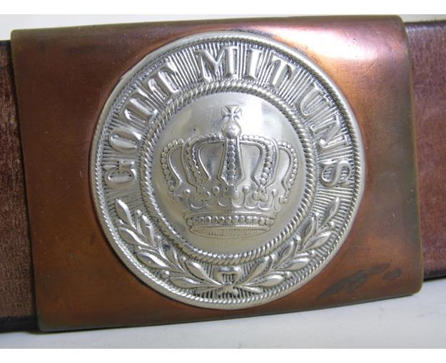 Genuine WWI Imperial German Prussian Leather  Belt & Buckle. Early 1900s.