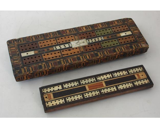 Antique Tunbridgeware Cribbage Board with  Masonic Plaque. 19thc.