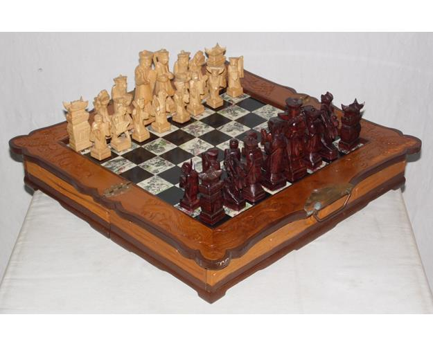 Ancient Style Chinese Chess Set and Board .  20thc.