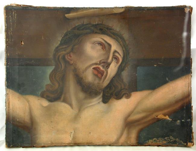 Antique Painting Le Christ sur La Coix