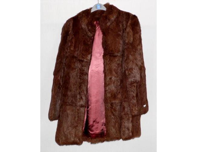Vintage Real Fur French Rabbit Jacket Coat  Tan brown . Size 16.