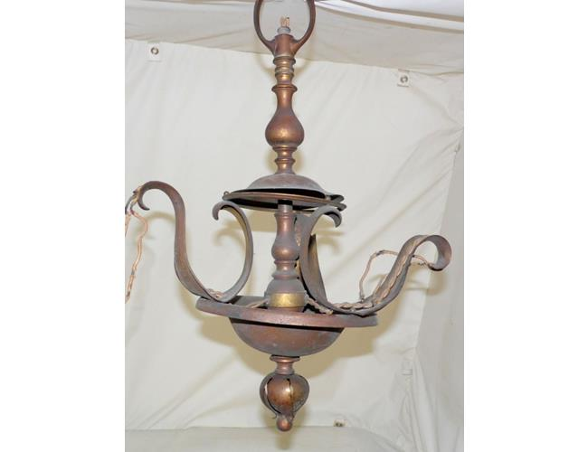 Antique Art Nouveau 3 Branch Ceiling Lamp