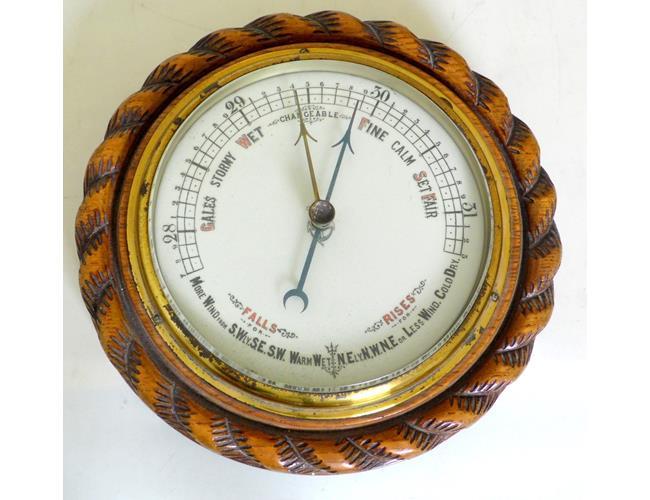 Antique Oak Circular Aneroid Barometer.19thc.