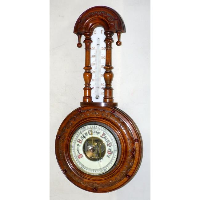 Victorian Carved Walnut Aneroid BarometerCirca1890