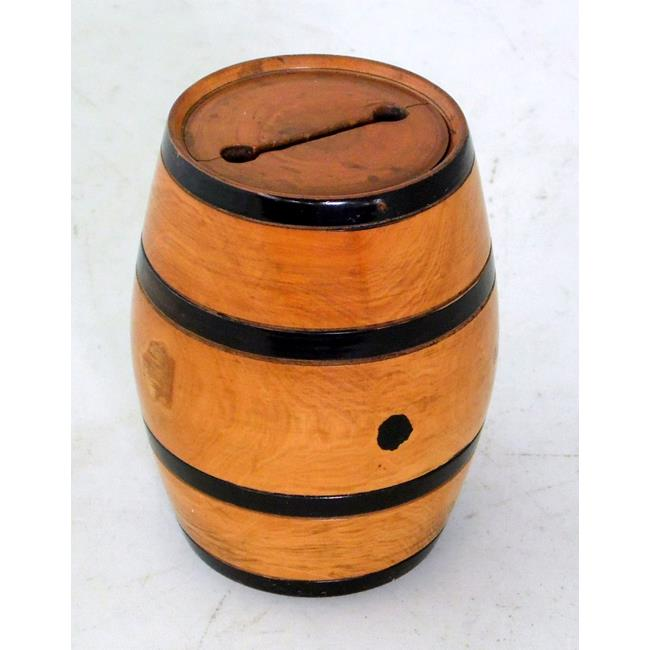 Antique Treen Boxwood Barrel Money Box. 19thc.