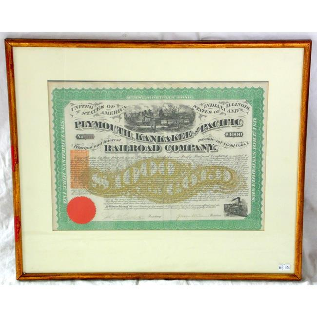 1871 Plymouth, Kankakee and Pacific Railroad Bond