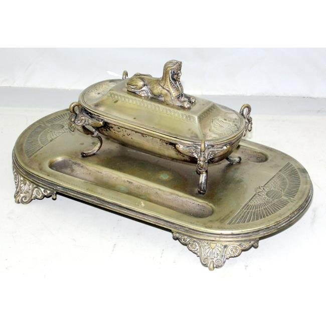 Antique Silver Plate Egyptian Revival Ink Stand.