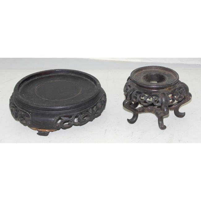 Antique Chinese Carved Wood Vase Stand Bases