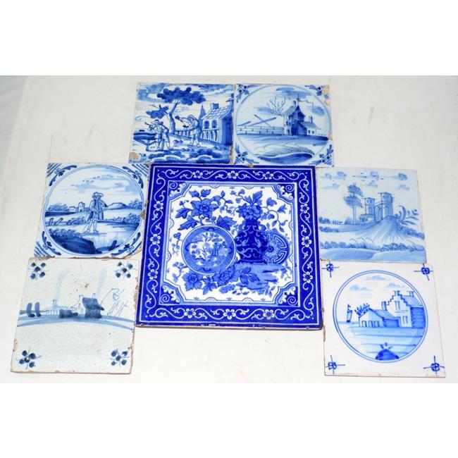 Collection of 6 Antique Delft Blue & White Tiles