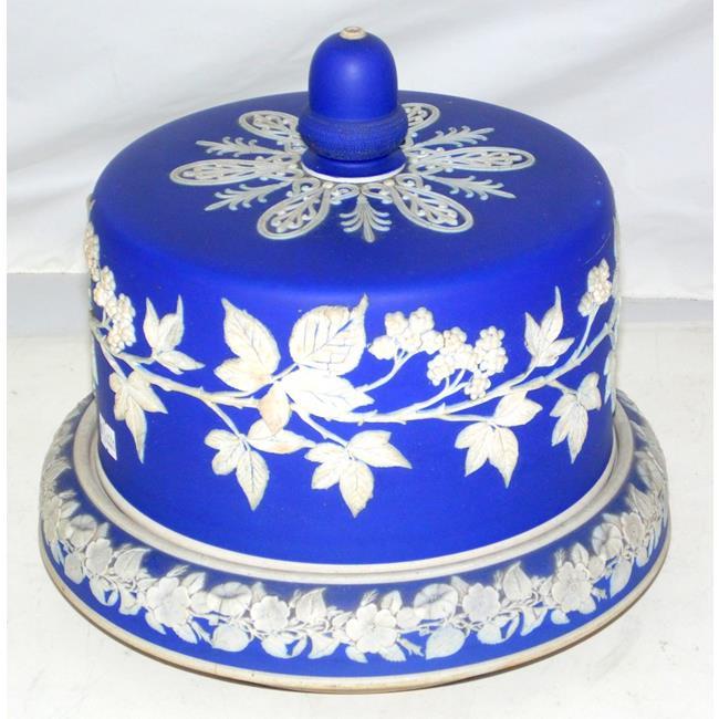 Antique White/Blue Jasperware Cheese Dome.19thc