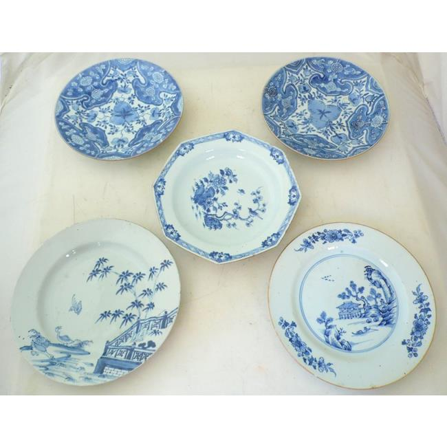5 18thc Blue & White Chinese Porcelain Plates