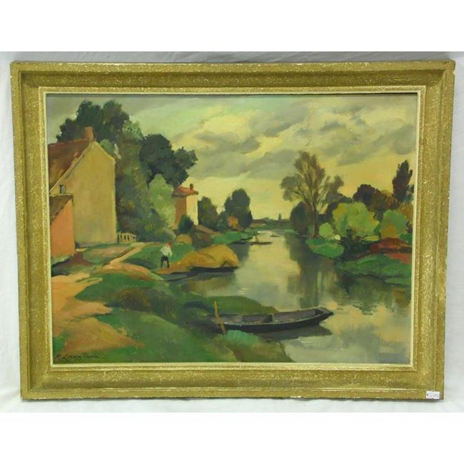 Pierre Langlade Oil on Canvas 'Canal La Rouchelle