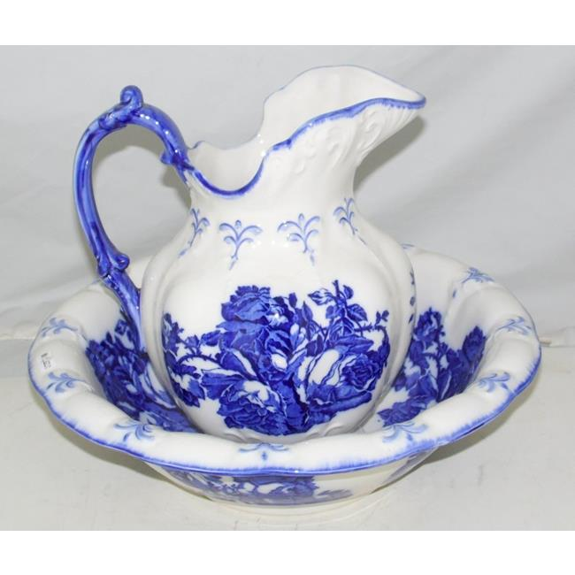 Blakeney Ironstone Blue Floral Jug and Wash Bowl