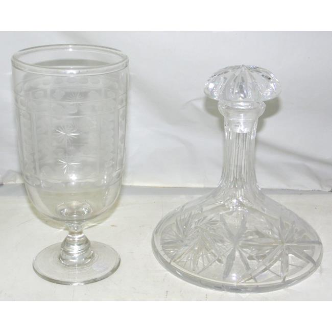 19th Century Celery Glass + Ships Decanter