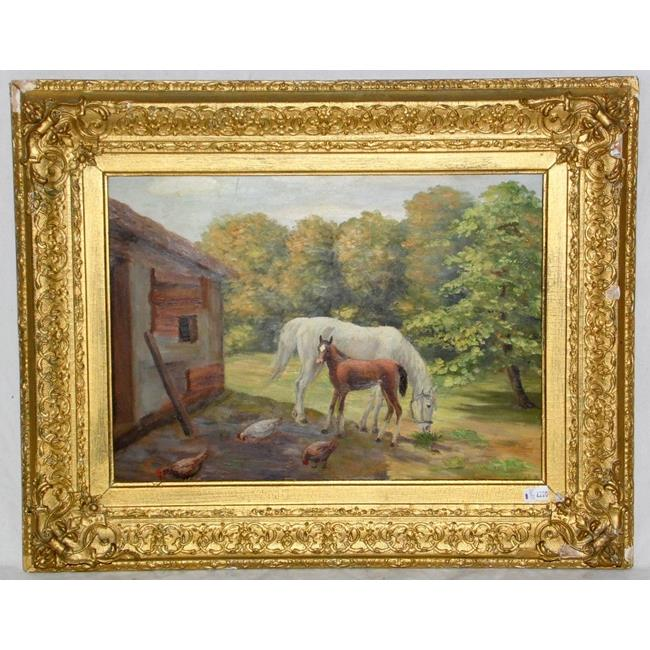 Oil on Panel 'Horse and Foal'. 20th Century