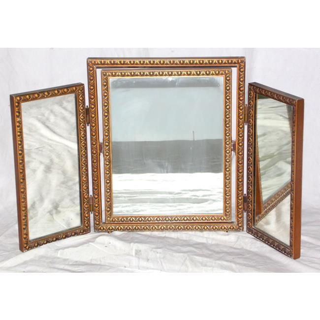 Antiquegiltwood triptych adj.dressing table mirror