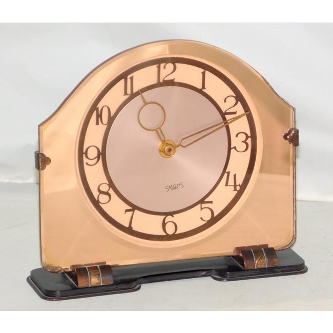 1930s Art Deco Smiths Pink Mirror Glass Clock