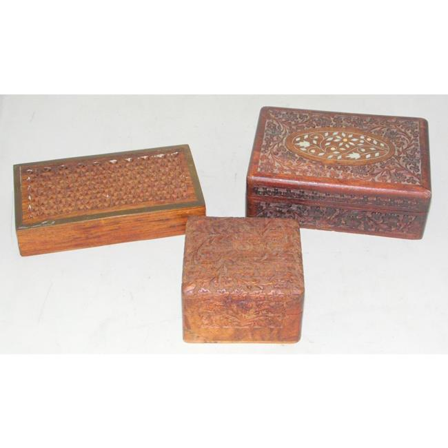 Collection of 3 Indian Carved Hardwood Boxes