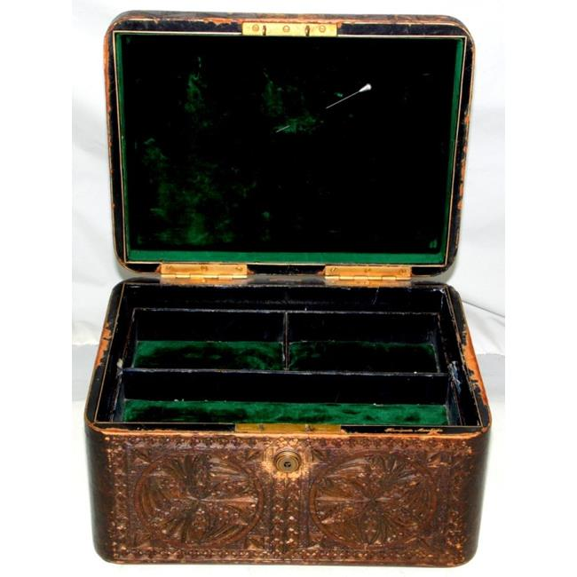 Antique Finnigans  Leather Jewellery Box..19thc
