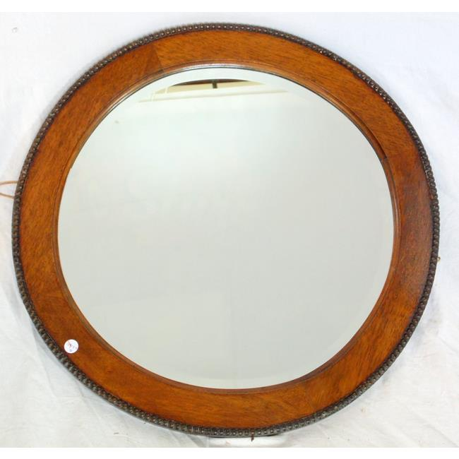 1920's Beaded Oak Circular Wall Mirror