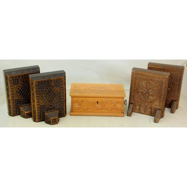 Vintage Swiss Reuge Carved Wood Music Box Etc