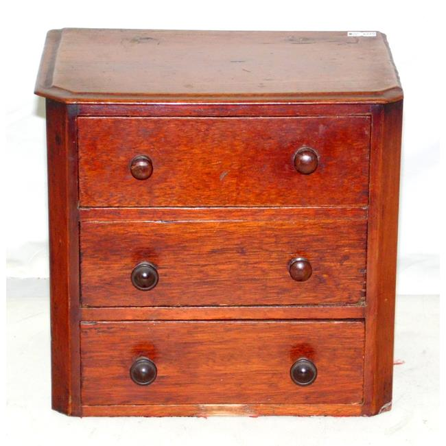 Victorian Mahogany Miniature 3 Drawer Chest