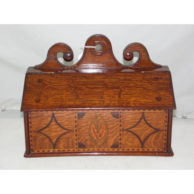 A Good George III Inlaid Oak Salt Box. Early 19thc