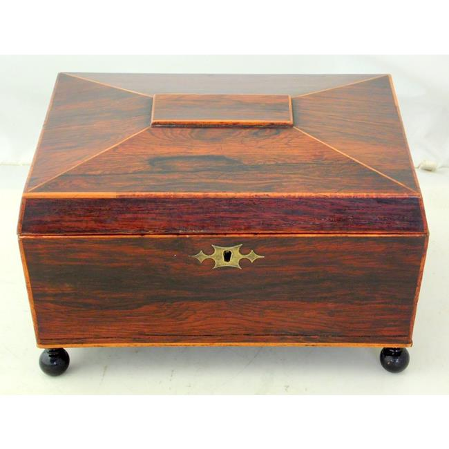 Antique Rosewood SarcophagusSewing Box .19thc.