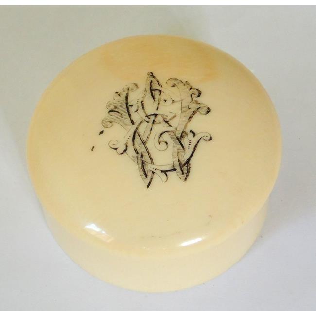 Antique Cantonese Ivory Powder/Cream Pot. 19thc